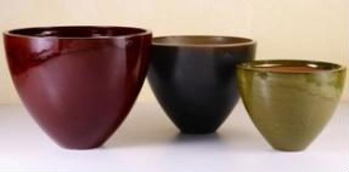 Durable Black Ht 9'' Ceramic Planter