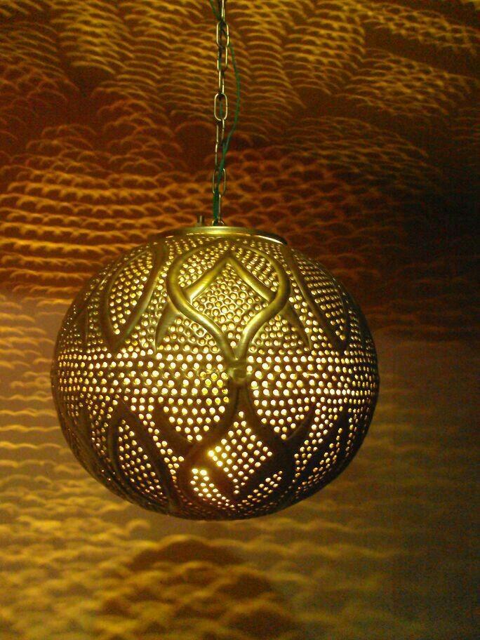Contemporary ball  Hanging Light, Shiny Gold lanterb
