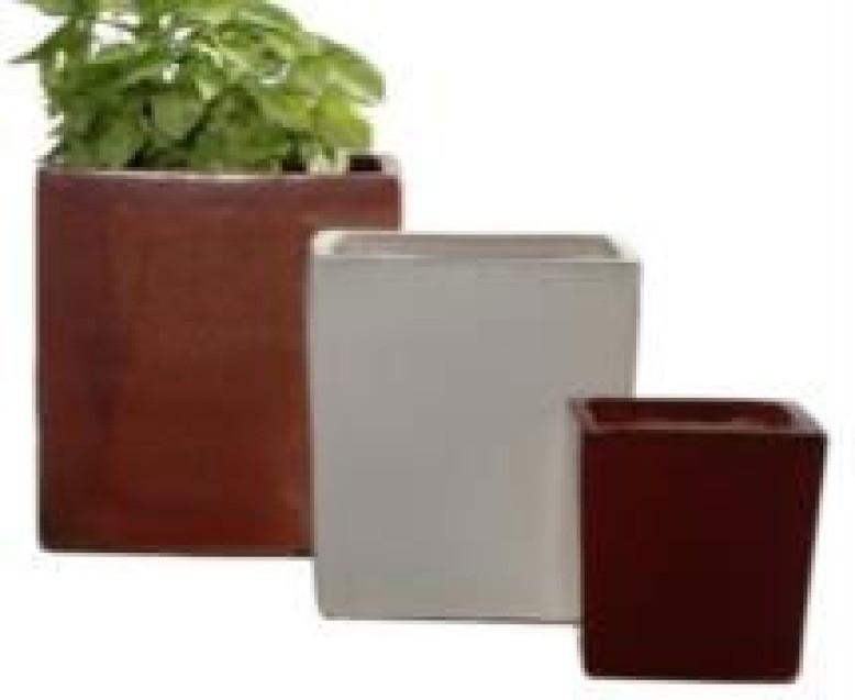 Glazed Red 13'' Square Ceramic Planter