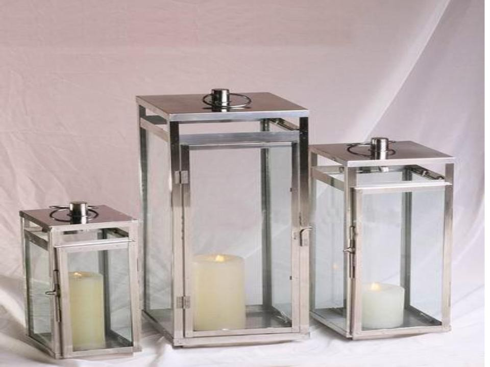 Rectangular shape stainless steel with glass lantern size-12""