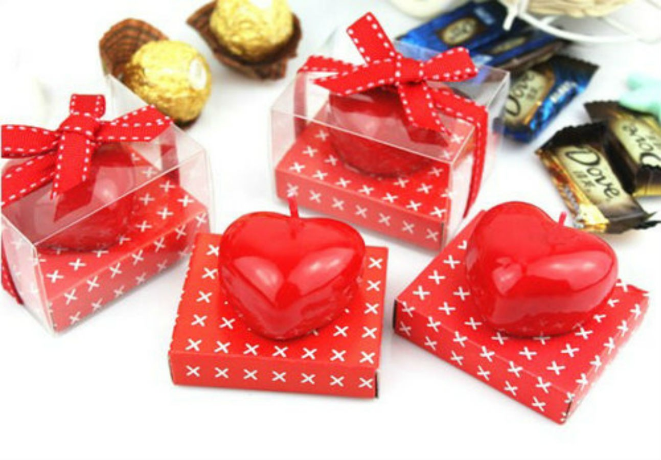 Red Heart Shaped Candles Set of 20 Pcs.