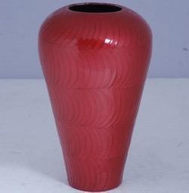 """11'' x 8'' x 5""""Red Bottom Narrow Design Round Metal Flower Vase"""