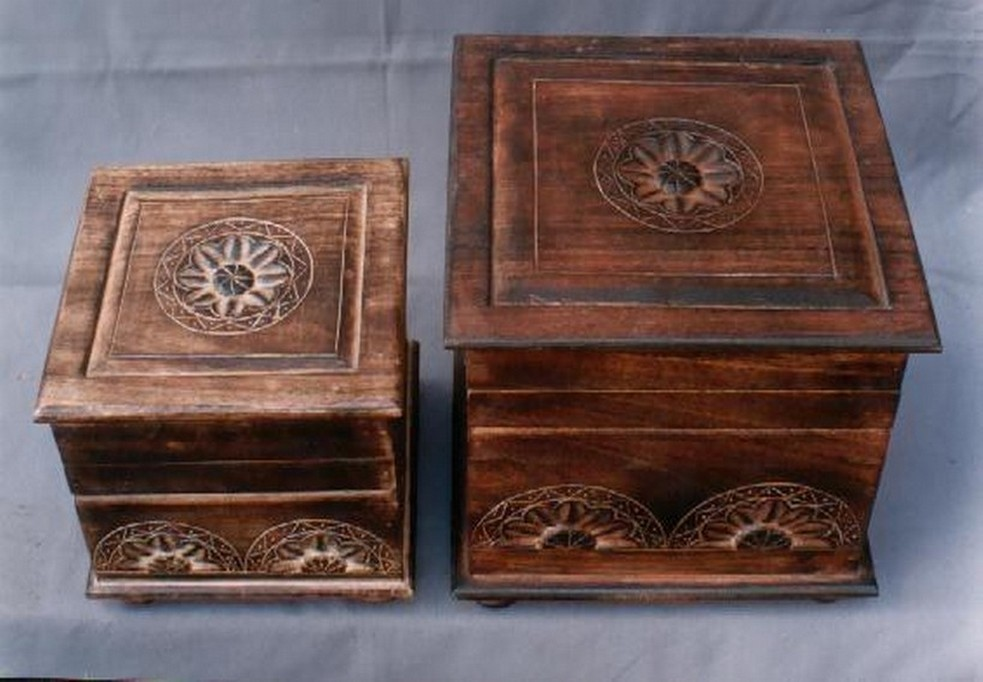 Small Red Wooden Square Box With Floral Work