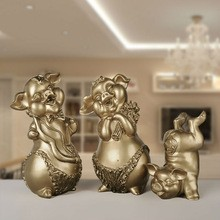 Resin Family Lucky Pig Mascot Festival Decor Home Decor (C)