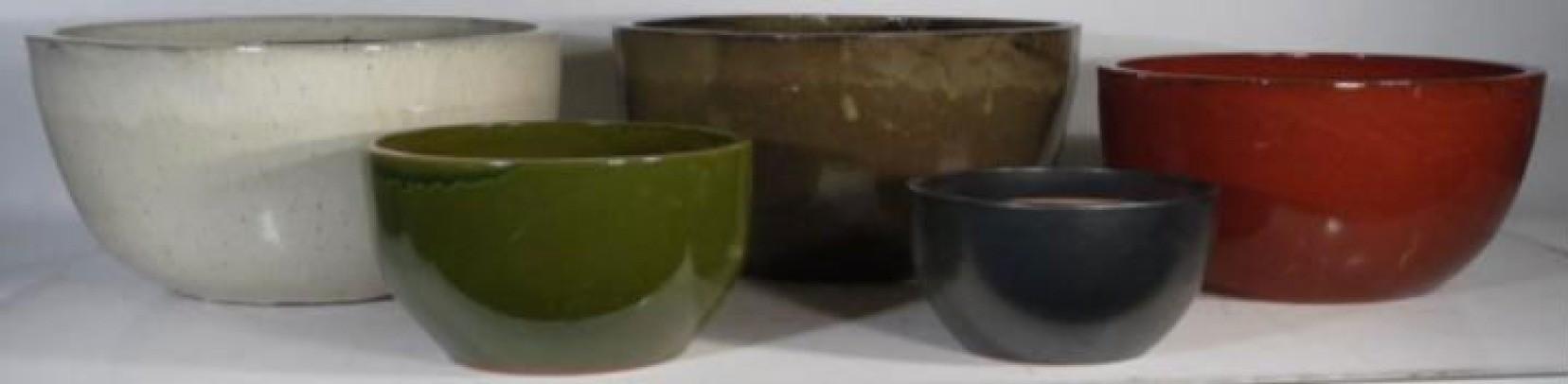 Red  Ht 13'' Ceramic Glazed Planter