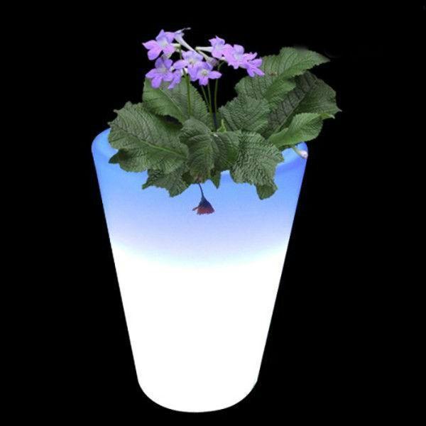 Round Cone Shape White Led Planter