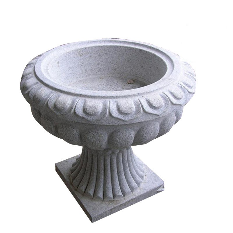 Round Flower Design Marble Stone Planter