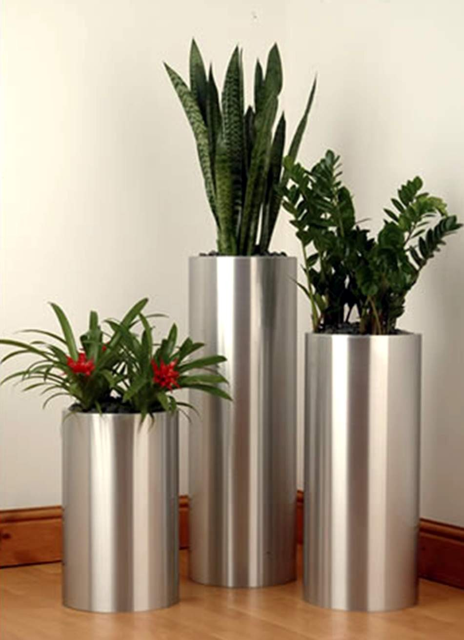 Duqaacom Round Silver Tall Planter Set of 3 Pcs infoduqaacom