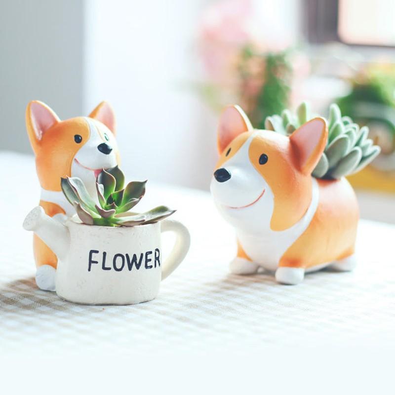 Set Of 2 Pcs Creative Animal Shape Ceramic Pot