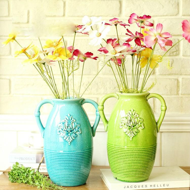 Set Of 2 Pcs Unique Flower Vase Style Ceramic Pot
