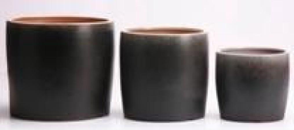 Shaded Black Ht 8.3'' Glazed Ceramic Pot