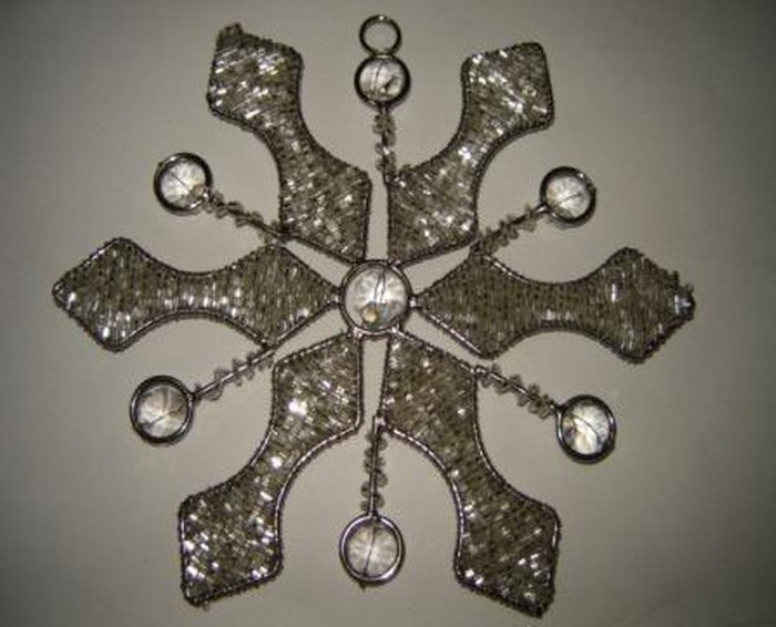 Decorative Snow Flakes Silver Beads Hanging Item