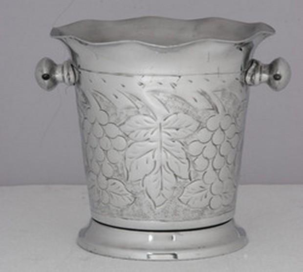 Silver Brass Metal Decorative Design Wine Cooler
