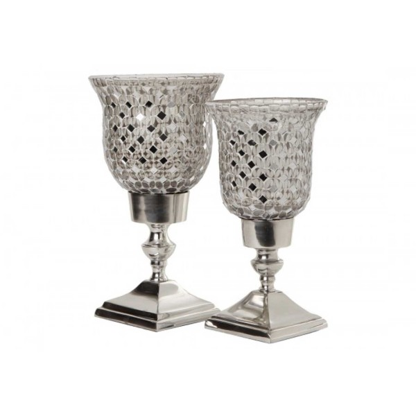 Silver Mosaic Glass Candle Holders Set of 2 Pcs