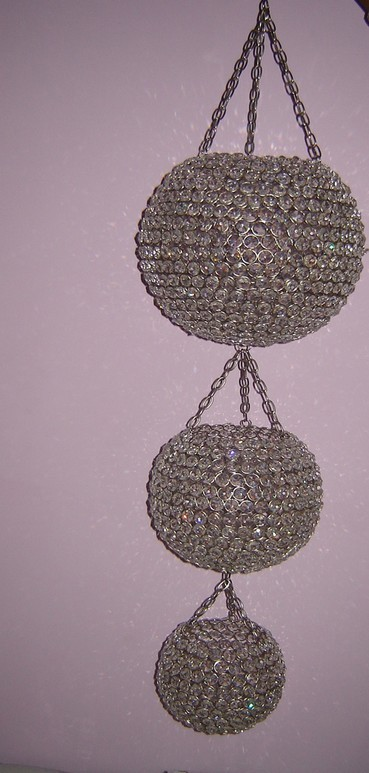 Silver Plated Three Hanging Round Shape Candle Holder