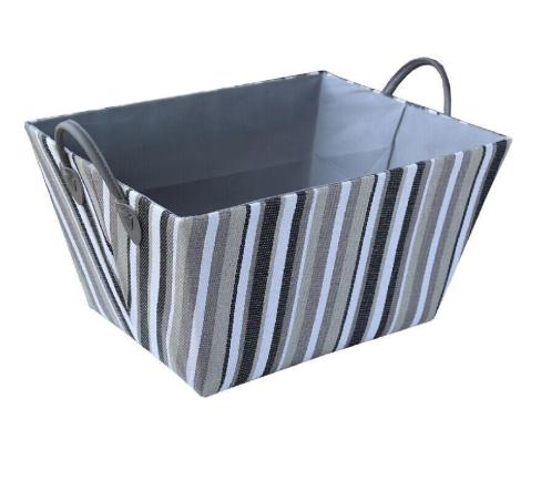 Silver with White-Black Stripes Laundry Hamper