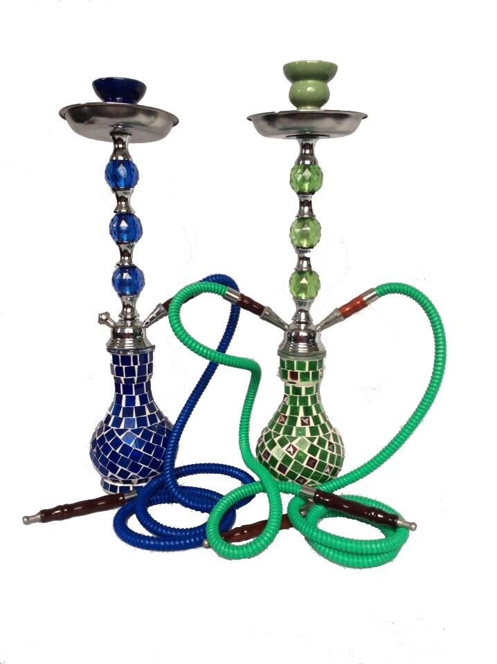 Green And Blue Mirror Mosaic Designer Medium Hookah(Size 1.2 m normal hose)
