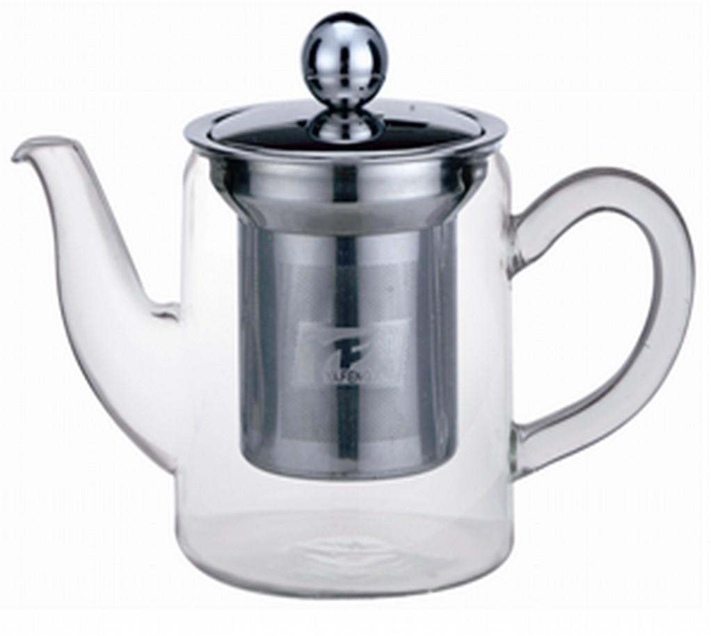 Small Round pillar Glass Tea Pot