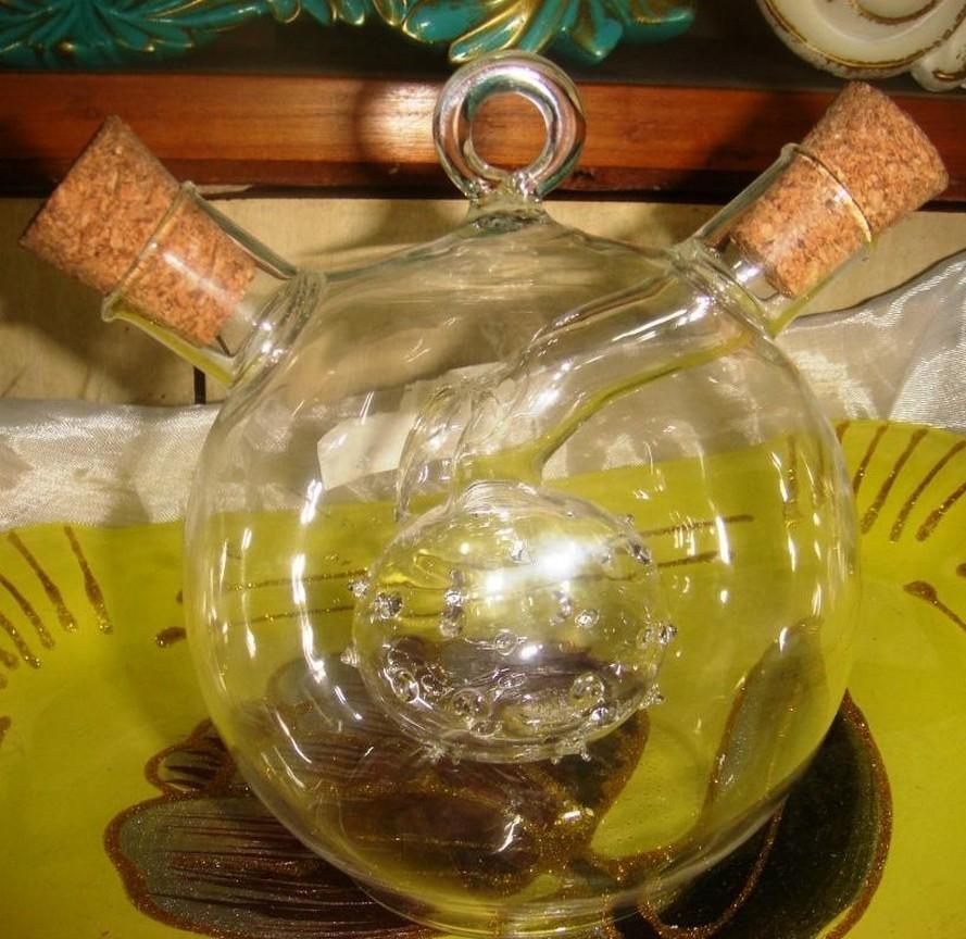 Spherical Two Holed Oil Glass Bottle