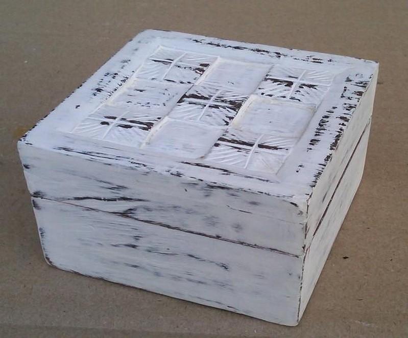 Square Design Shabby Chic Whitewashed Wooden Box