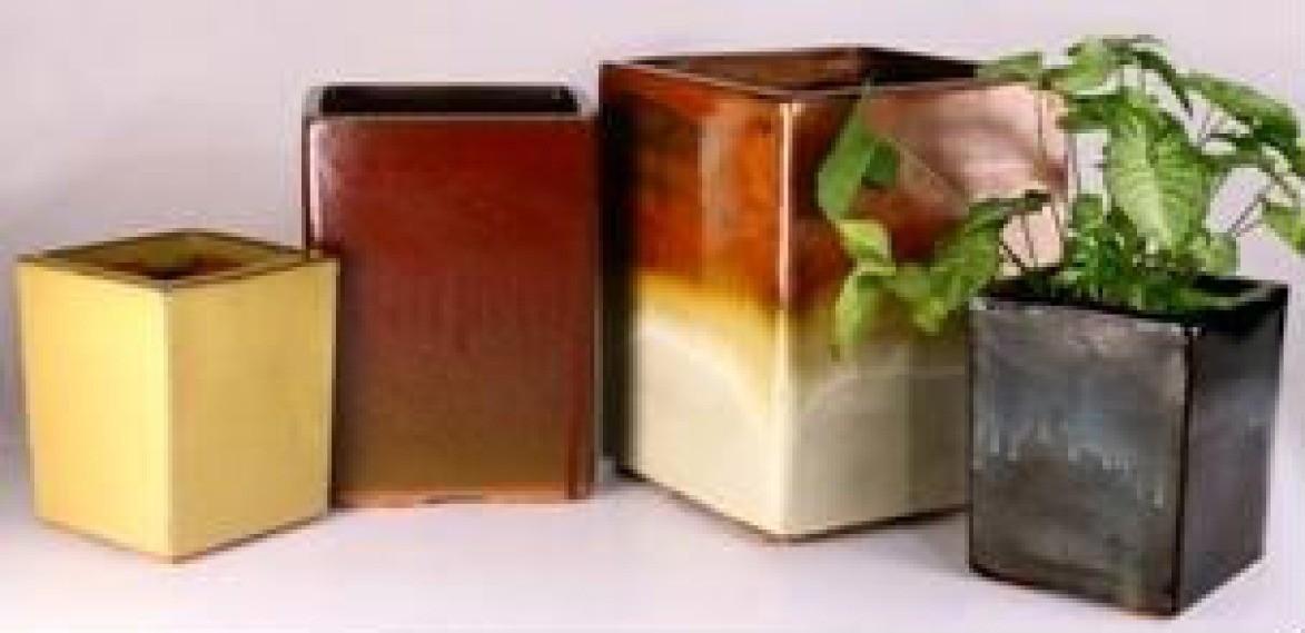 Black Square Shape Glazed Ceramic Planter
