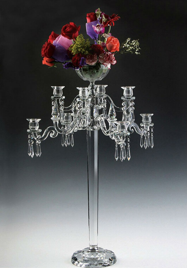 Stylish Glass Candelabra With Top Flower Bowl