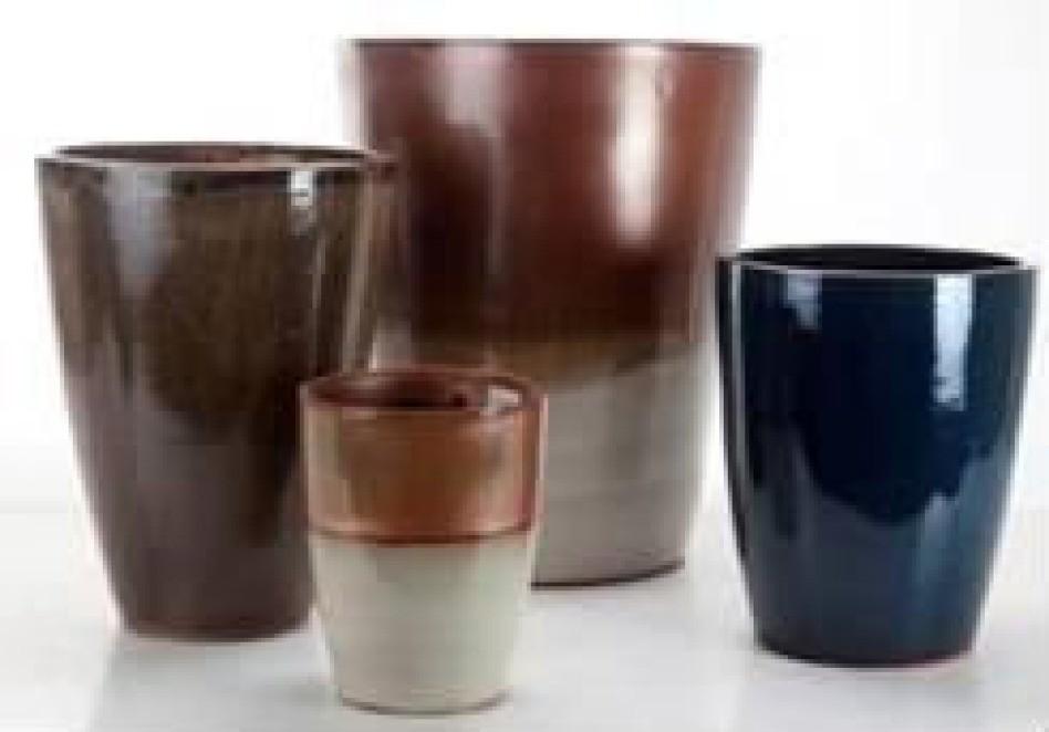 Copper With Cream Ht 34 Cm Ceramic Planter