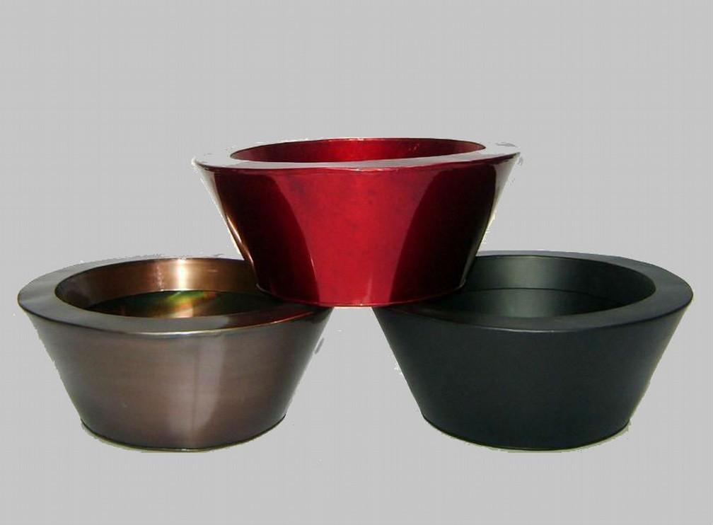 Round Bowl Shape Tapered Red & Black Metal Planter