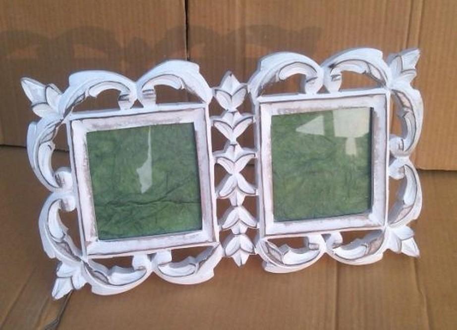 "4'' x 4""Two Piece Decorative Vintage White Photo Frame"