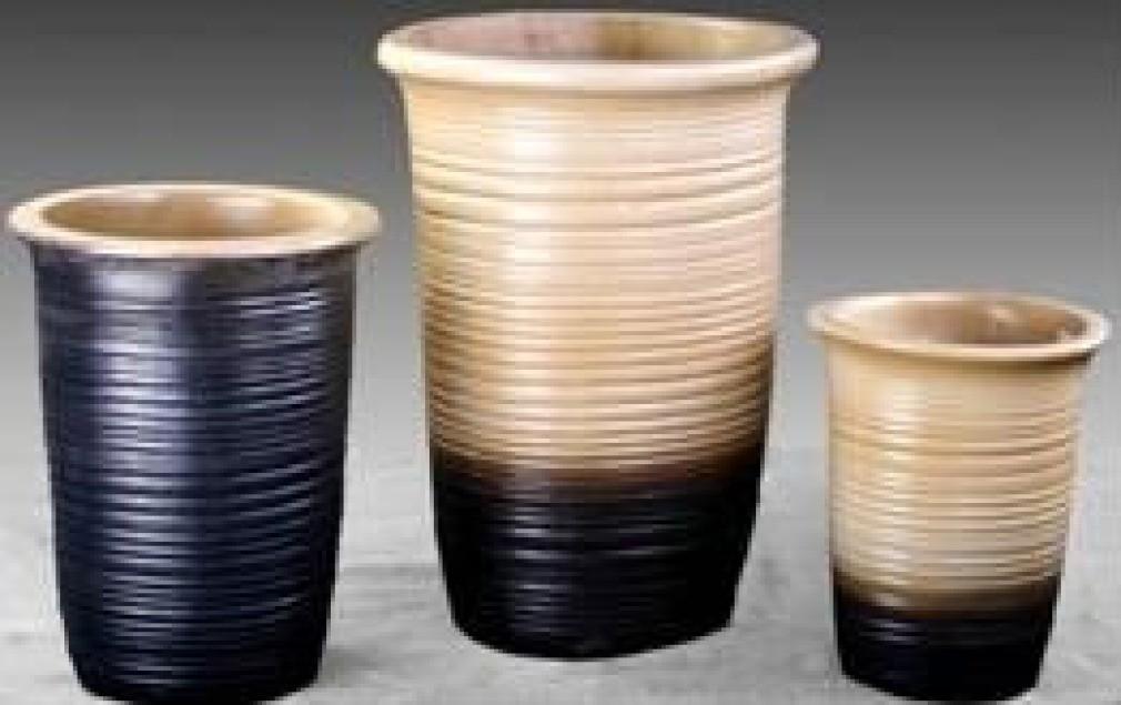 Two Tone Color Ht 15'' Ceramic Planter