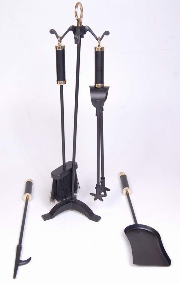 "Iron/ Brass  Powder Coated/ Shiny Finish Fire Tools Set Of 5 Pcs, size 26"" height"