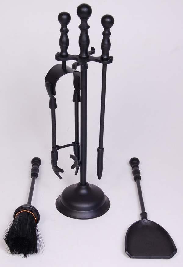 "Iron Powder Coated Finish Fire Tools Set Of 5 Pcs, 16"" height size"