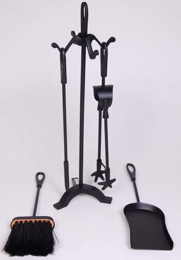 "Iron Powder Coated Finish Fire Tools Set Of 5 Pcs size 21""height"