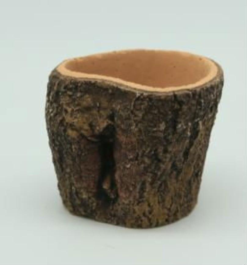 Unique Wood Finish 11 cm Fiberglass Pots