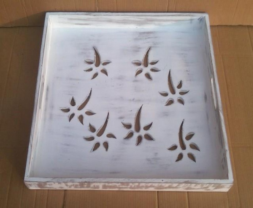Vintage White Cut Out Design Wooden Tray