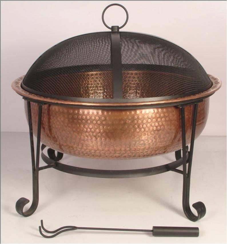 Vintage Copper Fire Pit With Decorative Legs