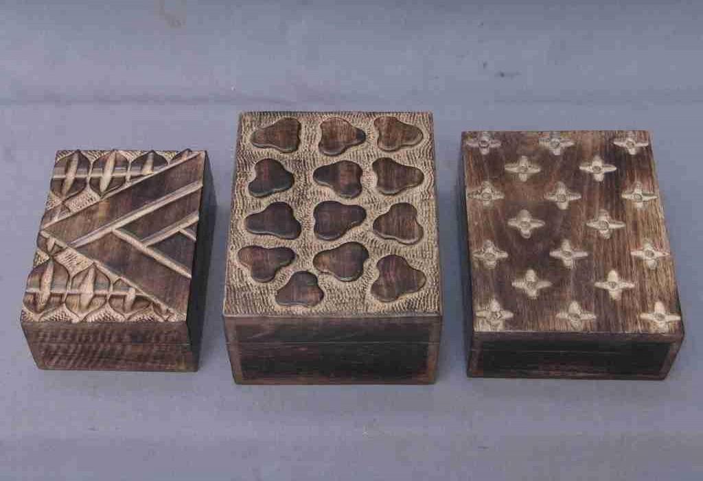 """Square Walnut  Decorative Design Wood Three Box(6'' x 4"""")"""
