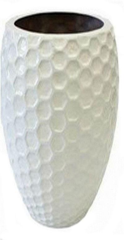 White Gloss Egg Shape 60cm Fiberglass Planter