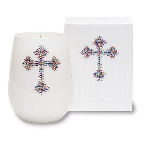 White Icon Cross Design Candle Set of 2 Pcs