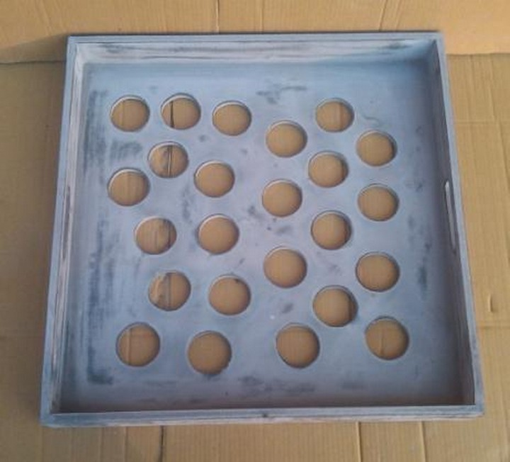 Whitewashed Net propelling Design Wooden Tray