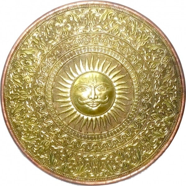 Wooden Brass Finish Sun Design Wall Art