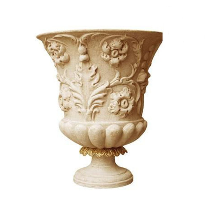 Yellow Hand Carving Pattern Stone Planter