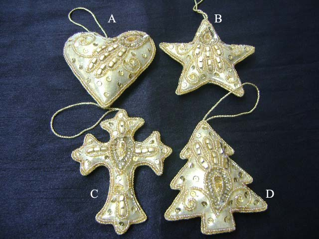 silver design with golden beads Christmas ornaments