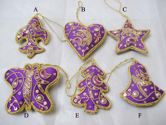 Purple colours Christmas ornaments