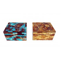 Wooden Checkered Jewelry Boxes