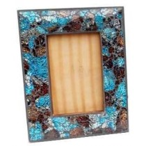 Wooden Photo Frame With Blue Colored Glass Edge