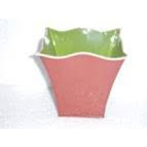 Pink and Green Colour Finish Durable Metal Planter