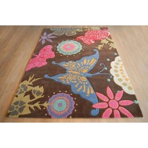 Hand Tufted Carpet With Butterfly Design, 8 X 12