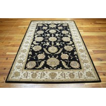 Black Hand Tufted Traditional Area Carpet, 8 X 12