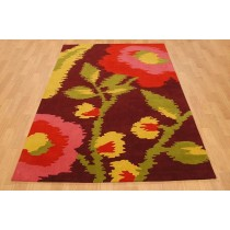 Floral Design Hand Tufted Shaggy Carpets  Size- 8 X 12